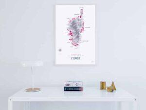 Poster carte des vins de Corse