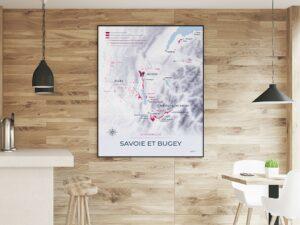 Carte des appellations viticoles de Savoie et du Bugey