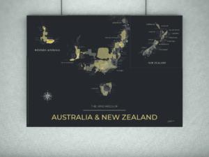 carte des vignobles d'Australie et de Nouvelle-Zélande