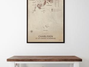 Carte des vignobles Auxerrois & Chablisien format poster