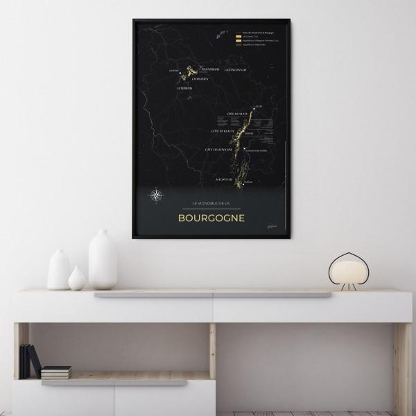 carte des vignobles de Bourgogne geoVINUM Night