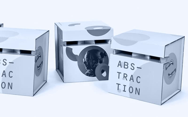 Tabourets cartons en noir et blanc